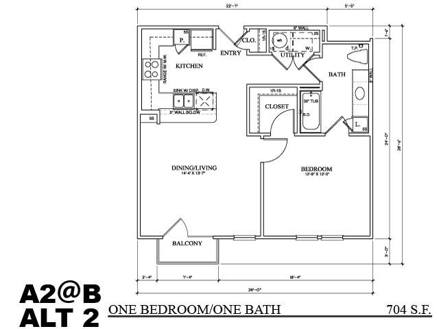707 sq. ft. A2B floor plan