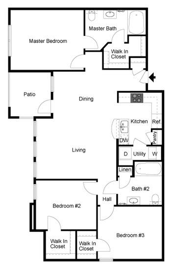 1,251 sq. ft. C1 floor plan
