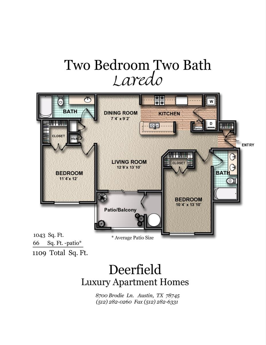 1,043 sq. ft. B1 floor plan