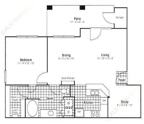 845 sq. ft. A6 floor plan