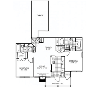 1,081 sq. ft. to 1,153 sq. ft. B2*GAR floor plan