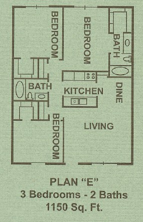 1,150 sq. ft. E floor plan