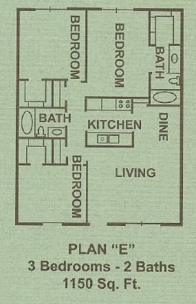 1,150 sq. ft. E floor plan