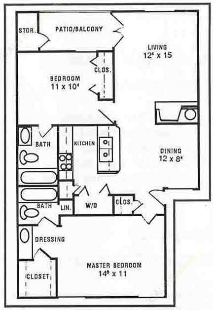 942 sq. ft. Daffodil floor plan