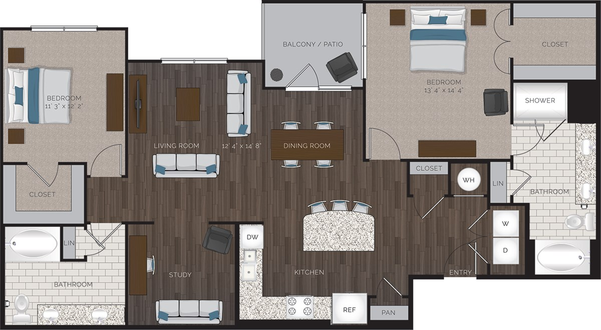 1,441 sq. ft. B9 floor plan