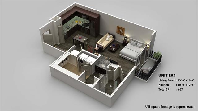 667 sq. ft. EA4 floor plan