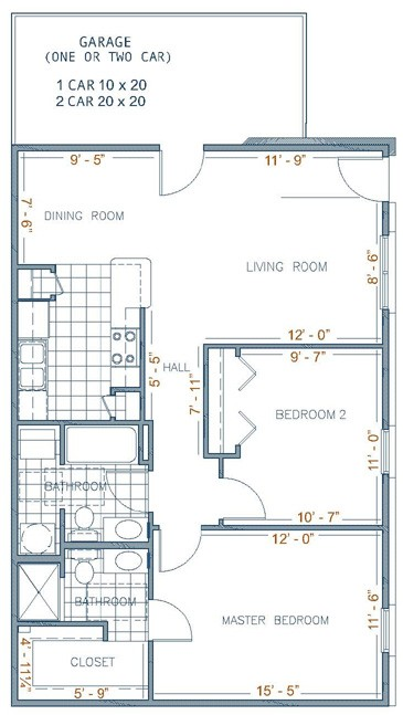 950 sq. ft. AUGUSTA floor plan
