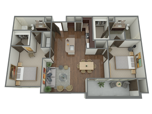 1,139 sq. ft. B2 floor plan