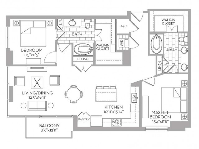 1,285 sq. ft. Royal(B.3) floor plan