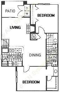 886 sq. ft. B1 floor plan