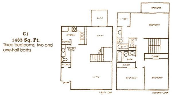 1,483 sq. ft. C1 floor plan