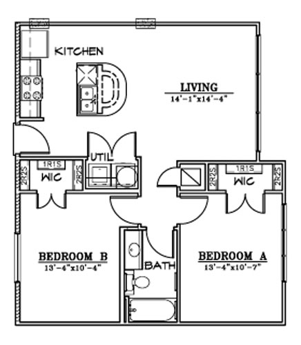 839 sq. ft. B4 floor plan