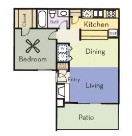 663 sq. ft. A1C/PINE floor plan