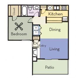 663 sq. ft. A1C/PINE floor plan