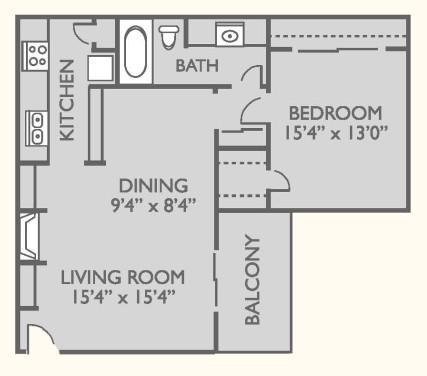 700 sq. ft. A-3 floor plan
