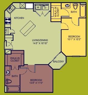 990 sq. ft. Corner A floor plan