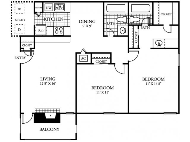 971 sq. ft. B3.2 floor plan