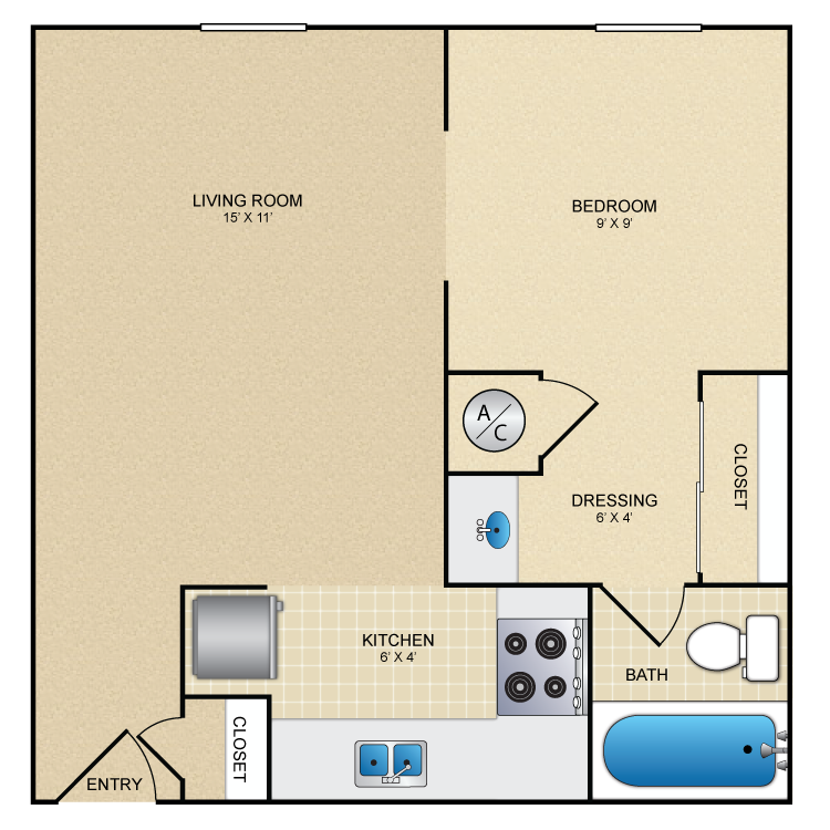 465 sq. ft. La Vida floor plan