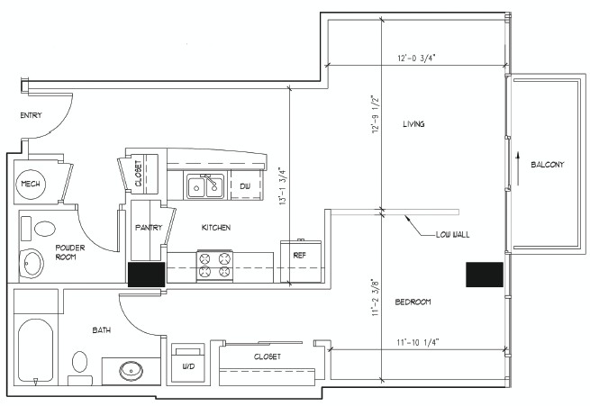 761 sq. ft. DONATELLO floor plan