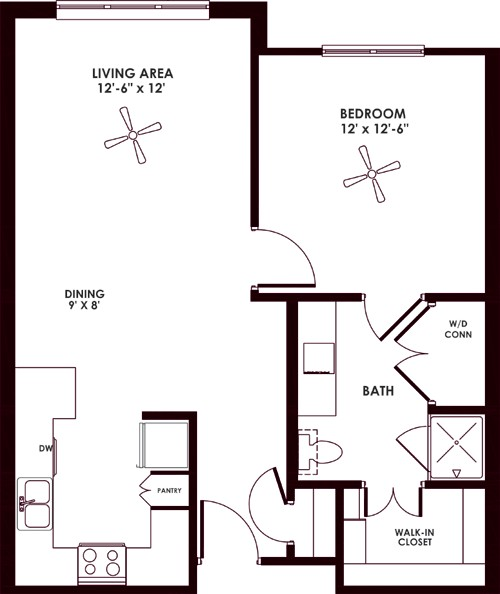 736 sq. ft. A floor plan