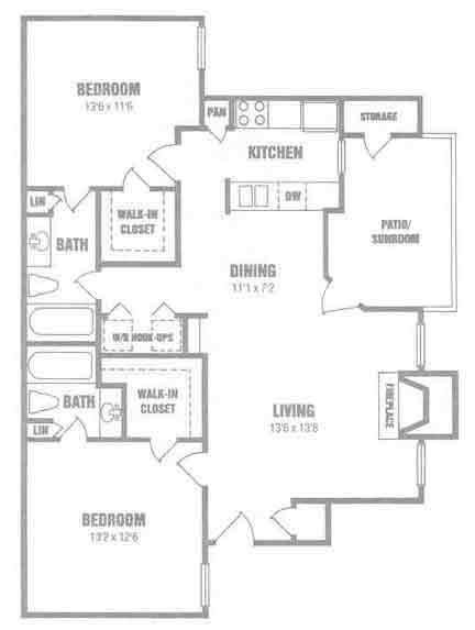 958 sq. ft. B1 floor plan
