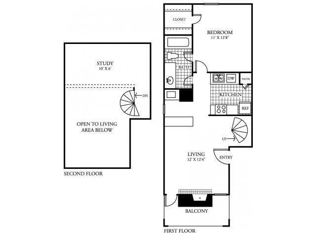 753 sq. ft. A3.2 floor plan