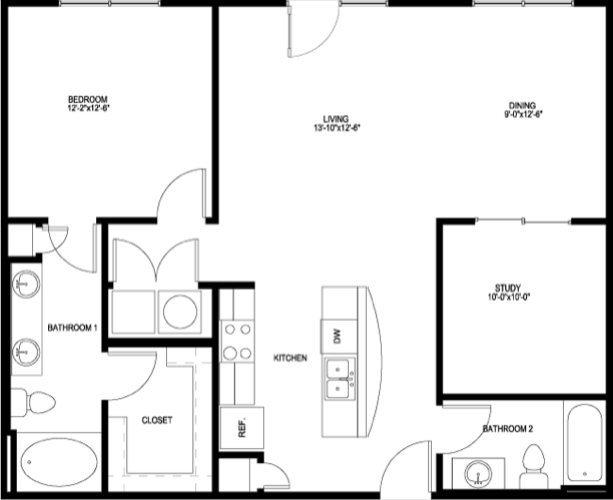 1,049 sq. ft. A6E-II floor plan
