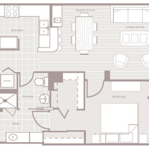 829 sq. ft. floor plan