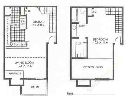 717 sq. ft. LOFT floor plan