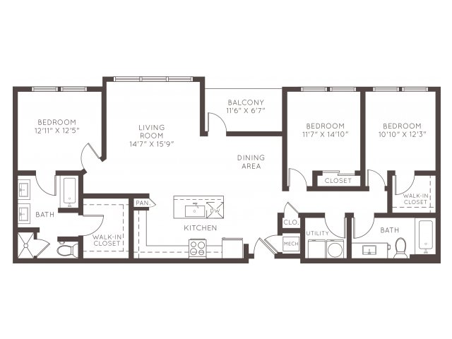 1,449 sq. ft. B5BG floor plan