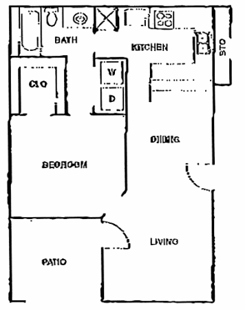 675 sq. ft. C floor plan