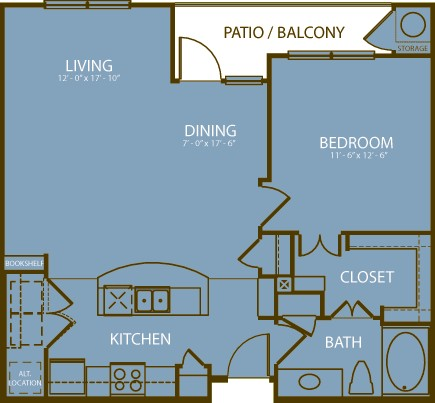 825 sq. ft. Muirfield floor plan
