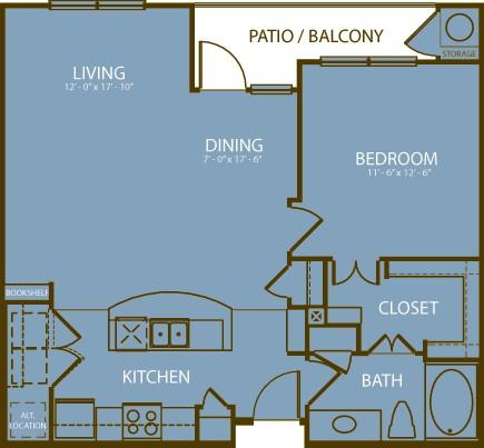 825 sq. ft. Muirfield floor plan