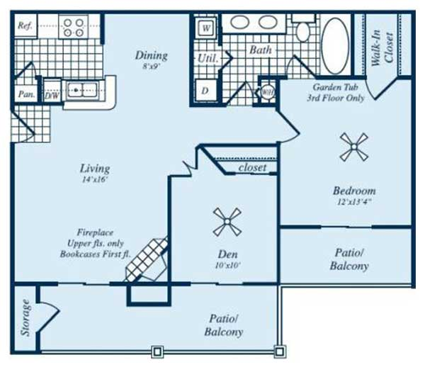 860 sq. ft. Meridian floor plan