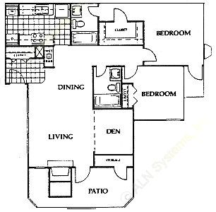 1,100 sq. ft. Stanford floor plan