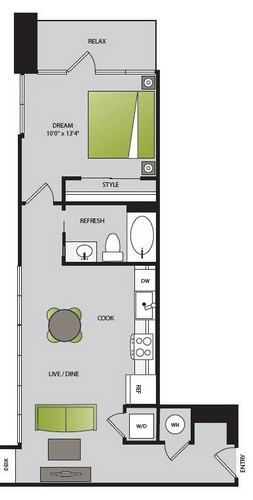 610 sq. ft. A1.3 floor plan
