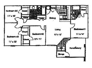 1,350 sq. ft. 60% floor plan