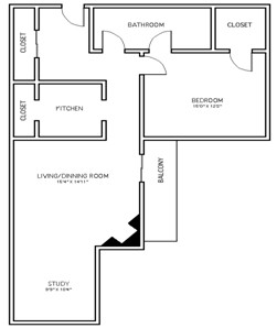 982 sq. ft. A1C floor plan