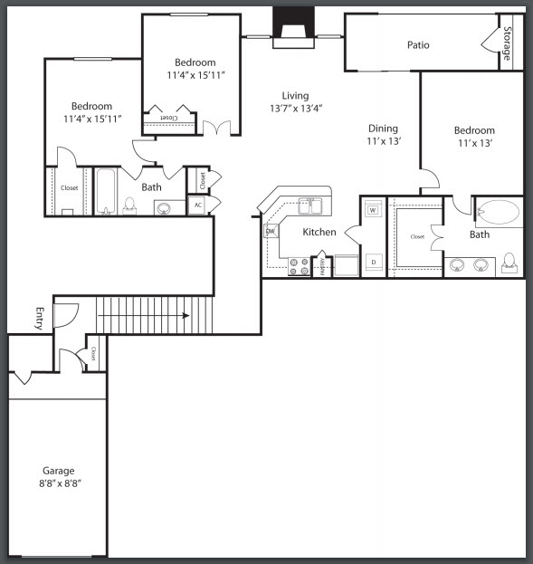 1,513 sq. ft. C2 floor plan