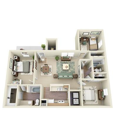 1,150 sq. ft. Aviator floor plan