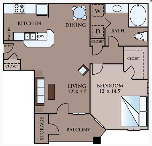 755 sq. ft. A floor plan