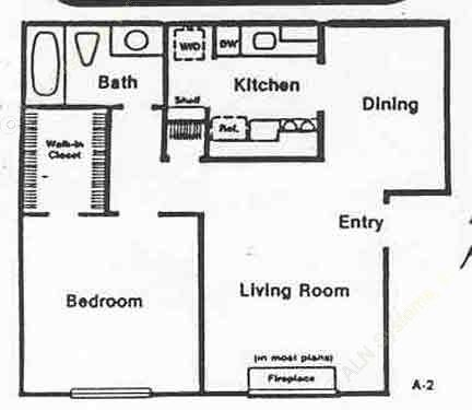 638 sq. ft. A-2 floor plan