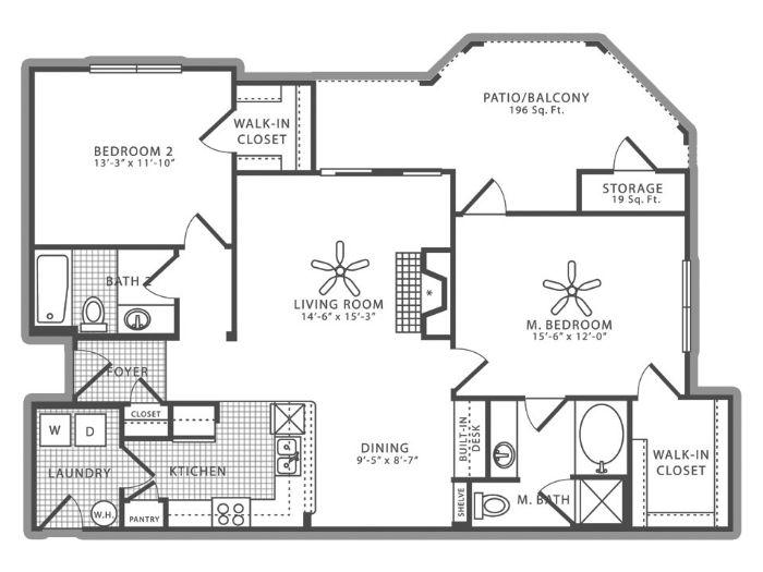 1,192 sq. ft. B3 floor plan