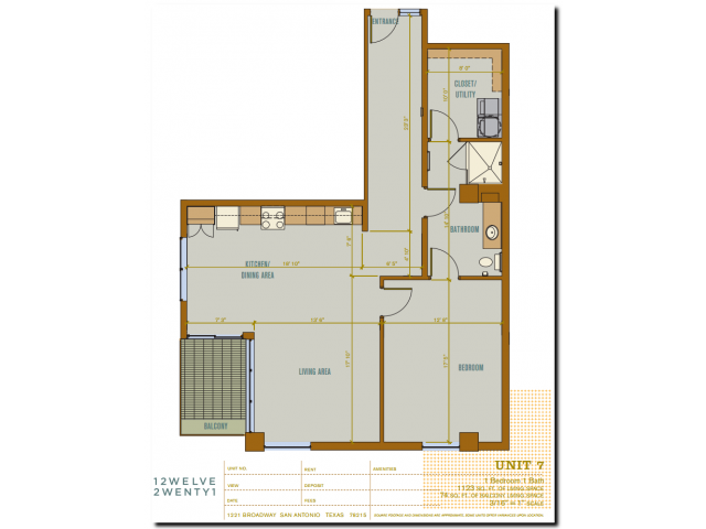 1,123 sq. ft. 2A7 floor plan