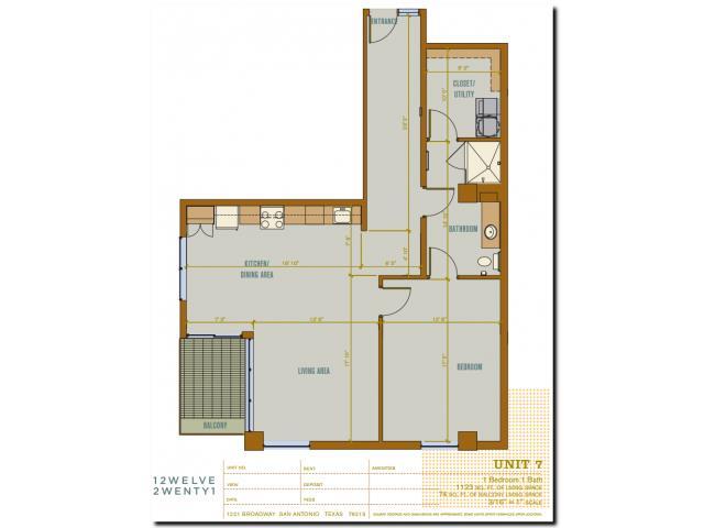 1,123 sq. ft. 2A7 floor plan