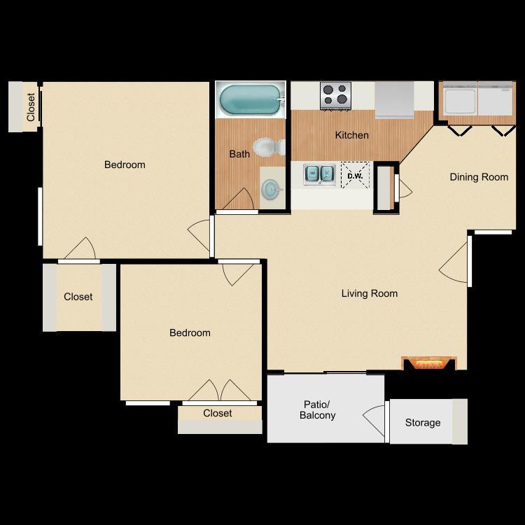 756 sq. ft. B1 floor plan