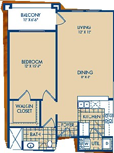 752 sq. ft. BARTON floor plan