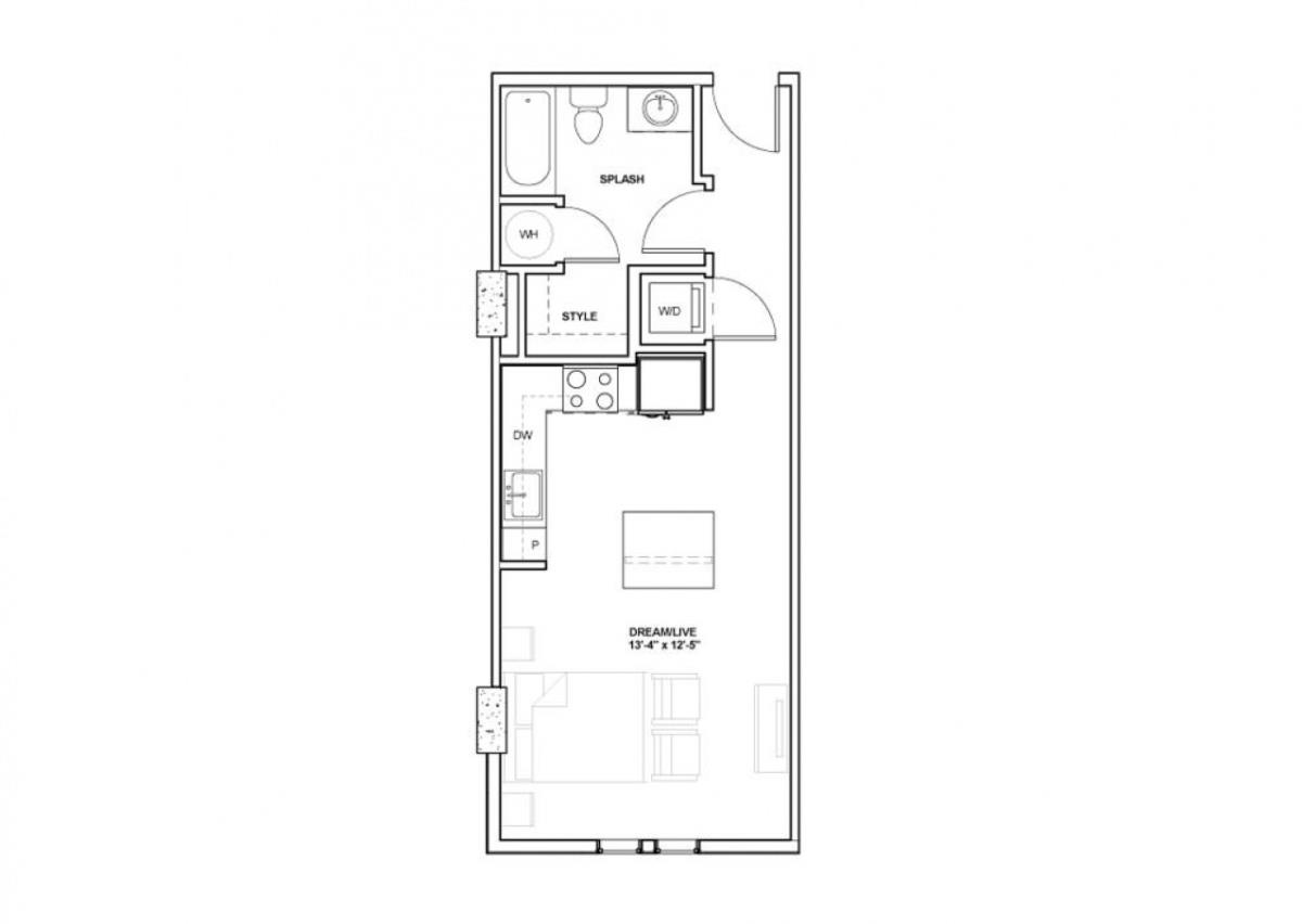 492 sq. ft. Perot floor plan