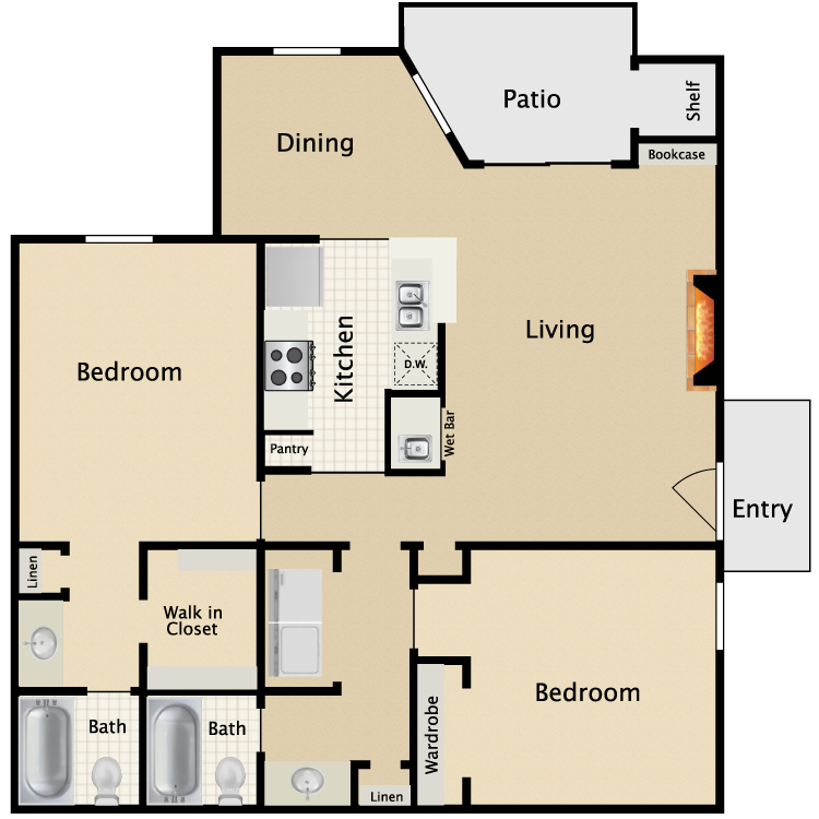 976 sq. ft. G1/G2 floor plan