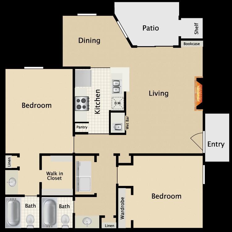 976 sq. ft. C4 floor plan